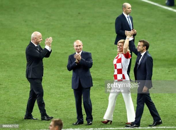 FIFA president Gianni Infantino President of Russia Vladimir Putin Croatia's President Kolinda GrabarKitarovic and French President Emmanuel Macron...