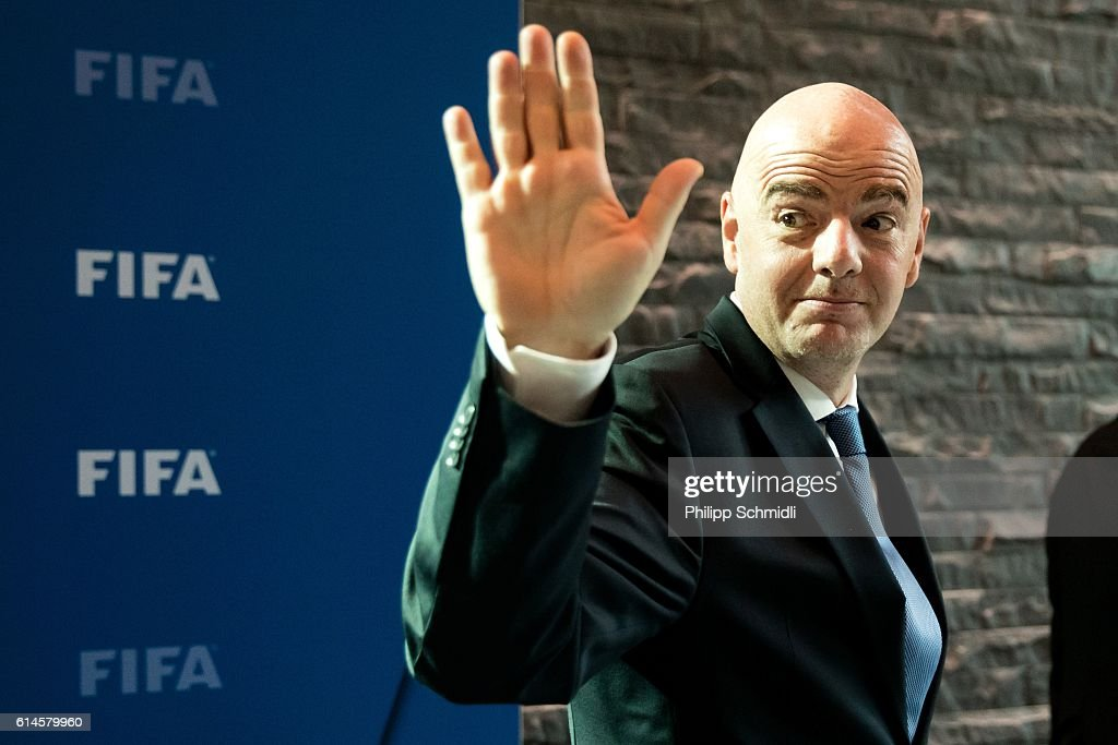 President Gianni Infantino reacts after part II of the FIFA Council Meeting 2016 at the FIFA headquarters on October 14, 2016 in Zurich, Switzerland.
