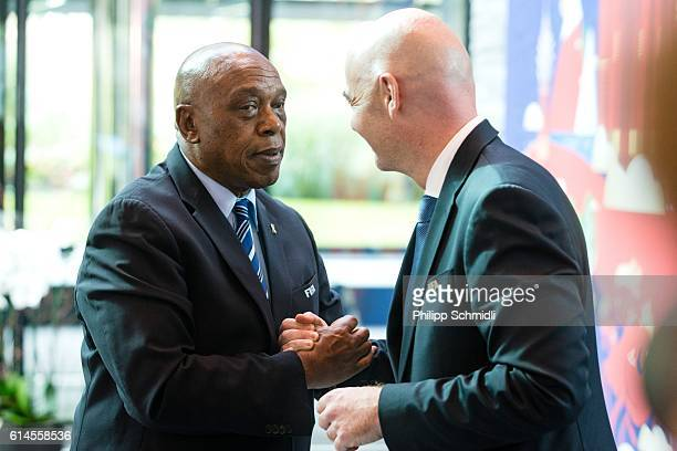 President Gianni Infantino shakes hands with Tokyo Sexwale after part II of the FIFA Council Meeting 2016 at the FIFA headquarters on October 14 2016...
