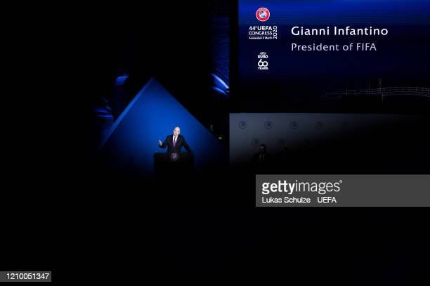 President Gianni Infantino speaks at the 44th UEFA Congress at Beur van Berlage on March 03, 2020 in Amsterdam, Netherlands.