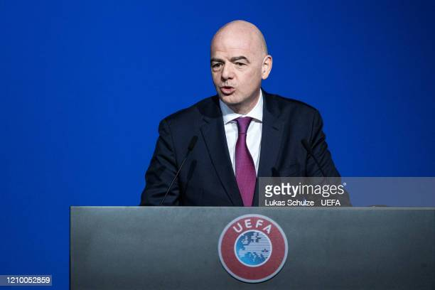 President Gianni Infantino speaks at the 44th UEFA Congress at Beur van Berlage on March 03 2020 in Amsterdam Netherlands