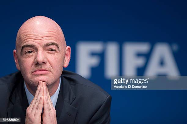 President Gianni Infantino speaks during a press conference after the FIFA executive committee meeting at the FIFA headquarters on March 18, 2016 in...