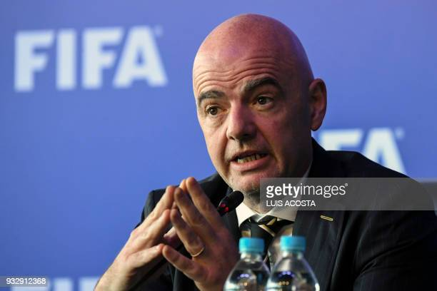 President Gianni Infantino speaks during a press conference on March 16 2018 in Bogota Colombia after the FIFA Council meeting FIFA on Friday...