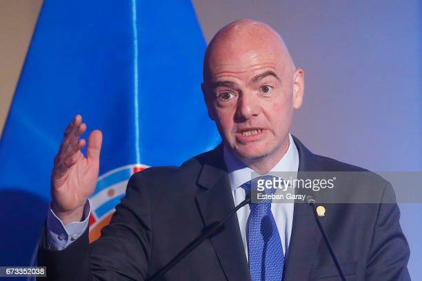 President Gianni Infantino speaks during the 67th CONMEBOL Congress at Sheraton Hotel on April 26 2017 in Santiago Chile