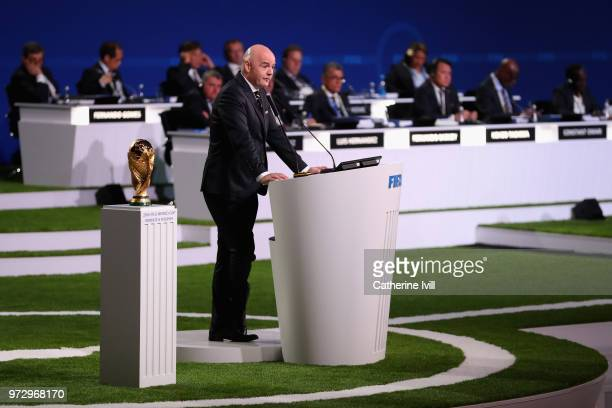 President Gianni Infantino speaks during the 68th FIFA Congress at the Moscow Expocentre on June 13 2018 in Moscow Russia