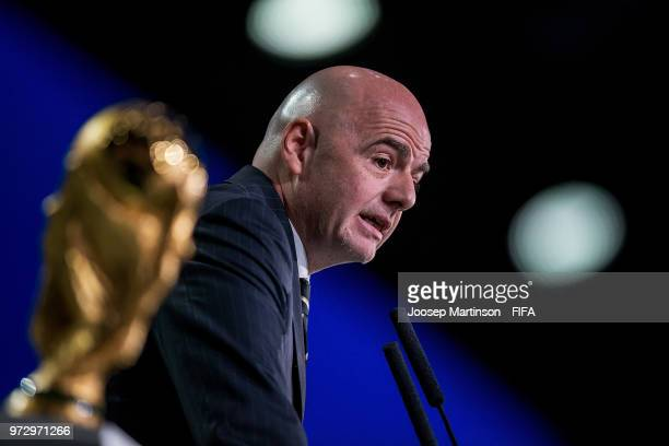FIFA president Gianni Infantino speaks during the 68th FIFA Congress at Expotsentr on June 13 2018 in Moscow Russia