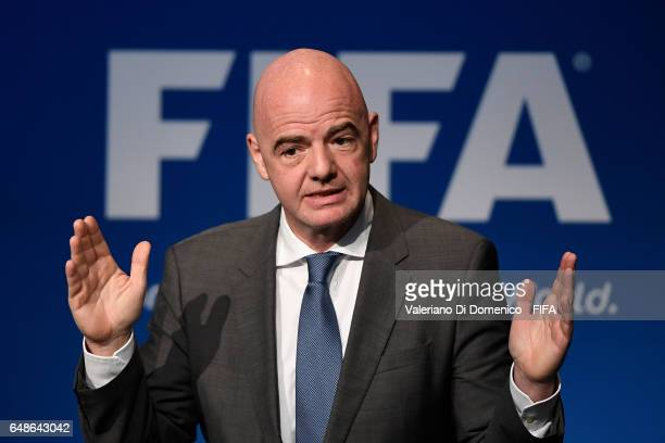 President Gianni Infantino speaks during the FIFA Annual Conference for Equality Inclusion at the Home of FIFA on 06 March 2017 in Zurich Switzerland