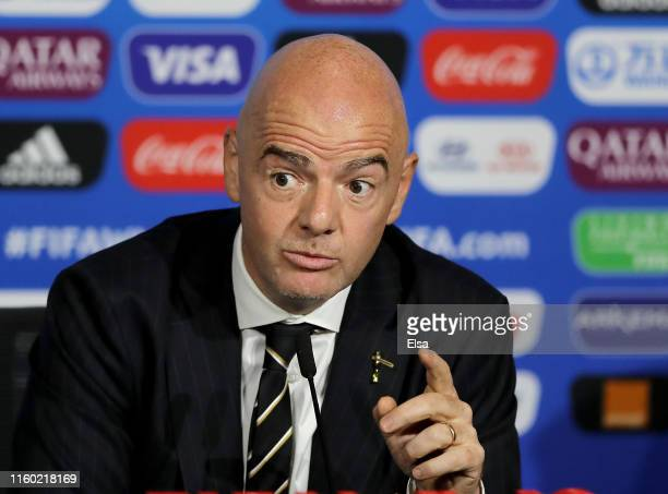 FIFA president Gianni Infantino speaks during the FIFA Closing Press Conference at Stade de Lyon on July 05 2019 in Lyon France