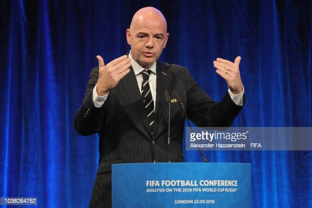 President Gianni Infantino speaks during the FIFA Football Conference at JW Marriott Grosvenor House Hotel on September 23 2018 in London England