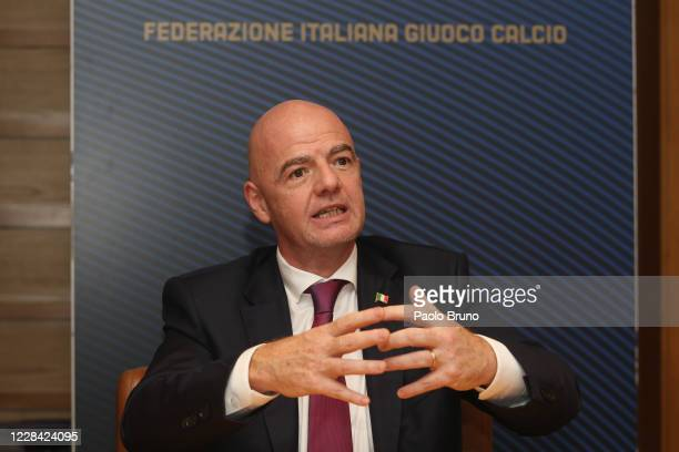 President Gianni Infantino speaks during the FIGC press conference on September 9, 2020 in Rome, Italy.