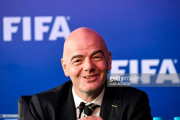 President Gianni Infantino speaks to journalists on March 16 2018 in Bogota Colombia after FIFA Council meeting FIFA on Friday approved the video...