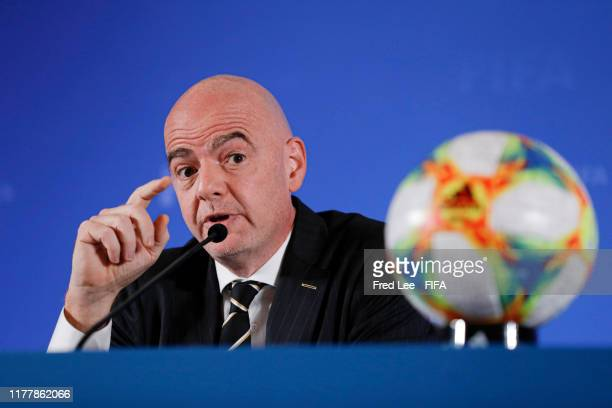 President Gianni Infantino speaks to the media after a FIFA Council Meeting at Shanghai Mandarin Oriental on October 24 2019 in Shanghai China