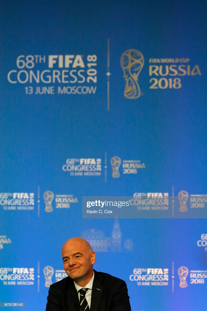 President, Gianni Infantino speaks to the media during the 68th FIFA Congress at Moscow's Expocentre on June 13, 2018 in Moscow, Russia.