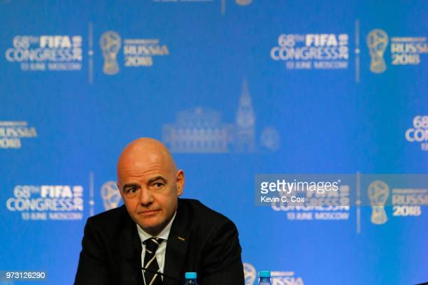 President Gianni Infantino speaks to the media during the 68th FIFA Congress at Moscow's Expocentre on June 13 2018 in Moscow Russia