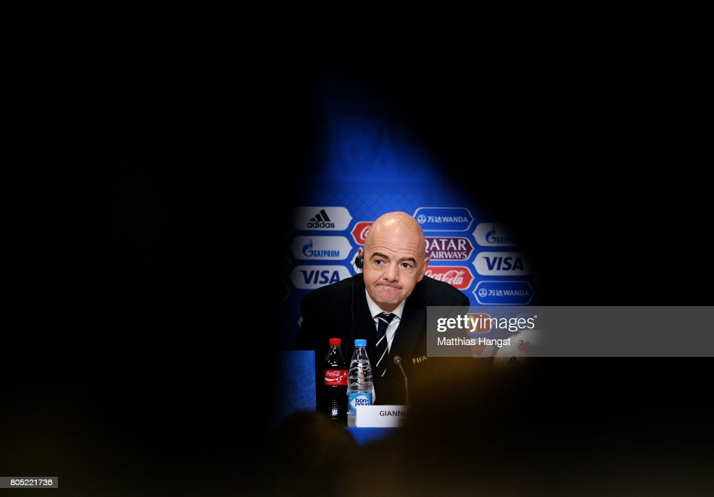 President Gianni Infantino speaks to the media during the Closing Press Conference of the FIFA Confederations Cup Russia 2017 on July 1, 2017 in Saint Petersburg, Russia.