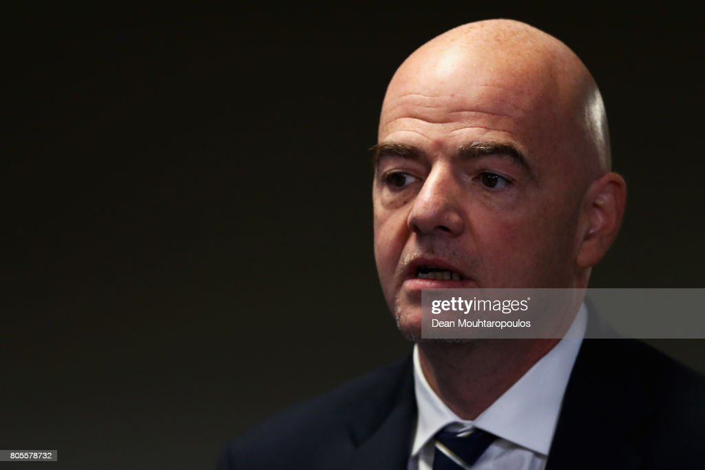 President, Gianni Infantino speaks to the media during the Closing Press Conference of the FIFA Confederations Cup Russia 2017 held at the Krestovsky Stadium or Saint Petersburg Stadium on July 1, 2017 in Saint Petersburg, Russia.