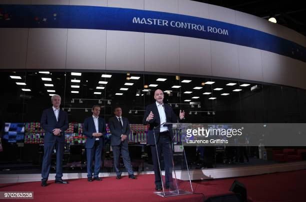 President Gianni Infantino speaks to the Media in front of Mayor of Moscow Sergey Sobyanin LOC Chairman Arkady Dvorkovich and President of the Crocus...