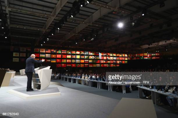President Gianni Infantino speeks during the 67th FIFA Congress at the Bahrain International Congress Convention Center on May 11 2017 in Manama...