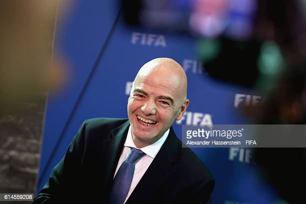 President Gianni Infantino talks to the media after part II of the FIFA Council Meeting 2016 at the FIFA headquaters on October 14 2016 in Zurich...
