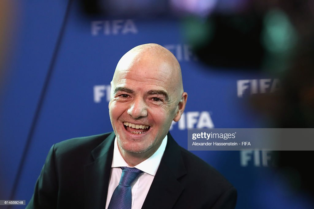 President Gianni Infantino talks to the media after part II of the FIFA Council Meeting 2016 at the FIFA headquaters on October 14, 2016 in Zurich, Switzerland.