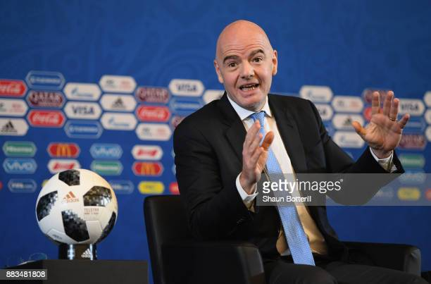 President Gianni Infantino talks to the media during a talk show presentation prior to the 2018 FIFA World Cup Draw at the Kremlin on December 1 2017...
