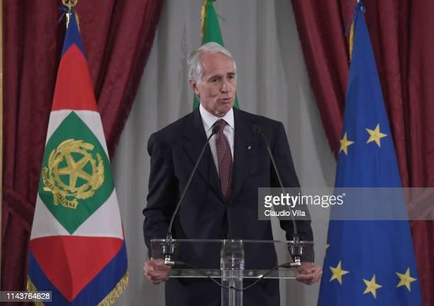 President Giovanni Malagò attends during Team's Delegations Meet President Sergio Mattarella at Palazzo del Quirinale on May 14, 2019 in Rome, Italy.
