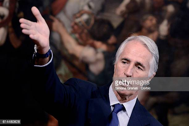 CONI president Giovanni Malagò speaks as he attends the Plan on Sport and Suburbs at Palazzo Chigi on October 12 2016 in Rome Italy
