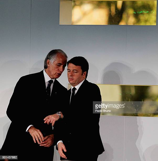 CONI President Giovanni Malago' and Italian Prime Minister Matteo Renzi attend the Italian Olympic Commitee 'Collari d'Oro' Awards ceremony on...