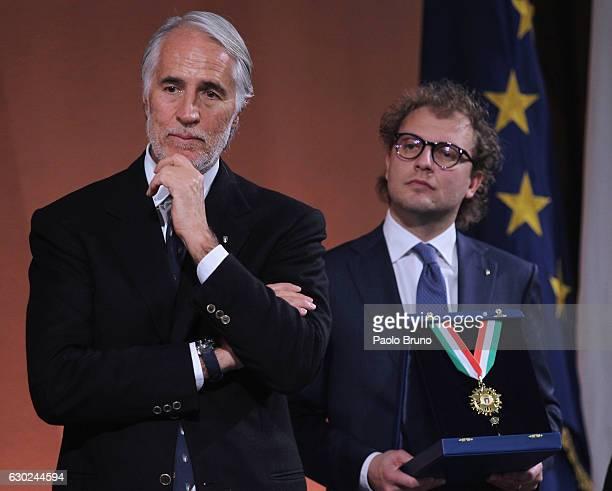 CONI President Giovanni Malago' and Sports Minister Luca Lotti attend the Italian Olympic Commitee 'Collari d'Oro' Awards at Foro Italico on December...