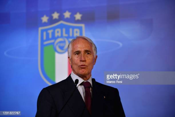 President Giovanni Malago' attends the FIGC Elective Assembly at Cavalieri Waldorf Astoria Hotel on February 21, 2021 in Rome, Italy.