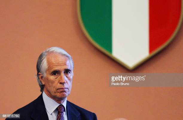 President Giovanni Malago' attends the Italian Olympic Presidential Committee election at Foro Italico on May 11, 2017 in Rome, Italy.