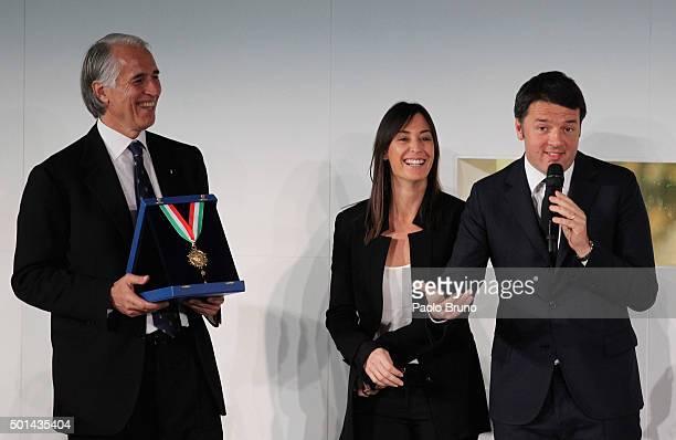 CONI President Giovanni Malago' Flavia Pennetta and Italian Prime Minister Matteo Renzi attend the Italian Olympic Commitee 'Collari d'Oro' Awards...