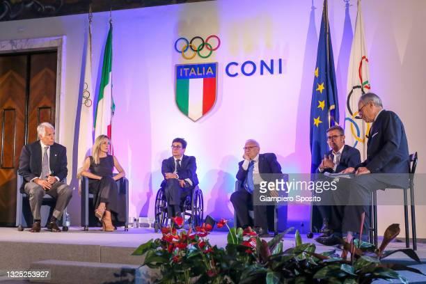 President Giovanni Malago', Italian undersecretary for sport Valentina Vezzali, president of the Italian Paralympic Committee Luca Pancalli, Italian...