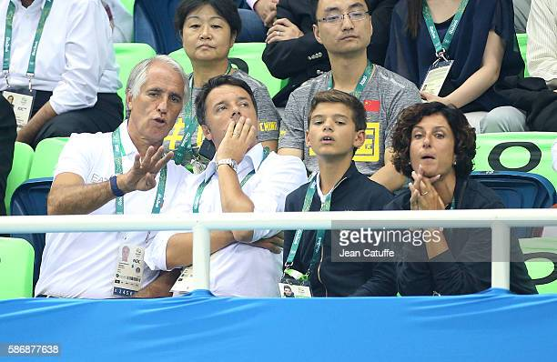 President Giovanni Malago Prime Minister of Italy Matteo Renzi his son and his wife Agnese Landini attend day 1 of the 2016 Olympic Games swimming...
