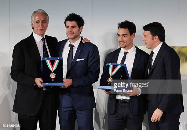 CONI President Giovanni Malago' Simone Bolelli Fabio Fognini and Italian Prime Minister Matteo Renzi attend the Italian Olympic Commitee 'Collari...