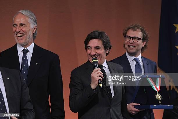 CONI President Giovanni Malago' Torino FC President Urbano Cairo and Sports Minister Luca Lotti attend the Italian Olympic Commitee 'Collari d'Oro'...