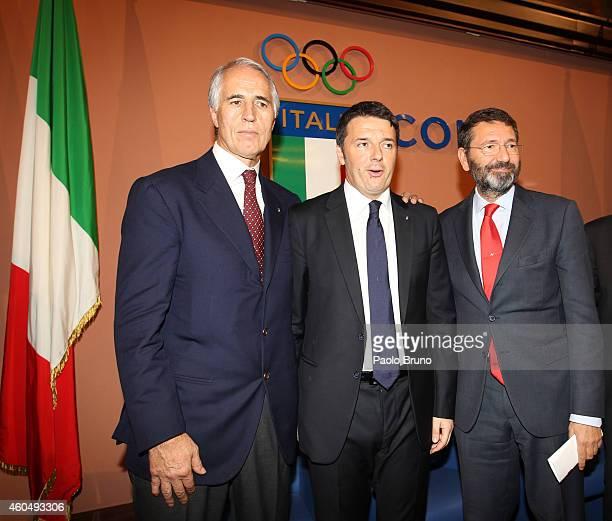 CONI President Giovanni Malago'Italian Prime Minister Matteo Renzi and Rome's Mayor Ignazio Marino announce Rome's candidacy to host the 2024 Olympic...