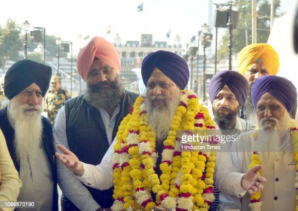 SGPC president Gobind Singh Longowal addresses media persons after coming from the groundbreaking ceremony for the Kartarpur Corridor at the...