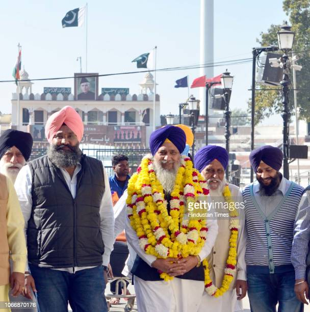 SGPC president Gobind Singh Longowal arrives after attending the groundbreaking ceremony for the Kartarpur Corridor at the IndiaPakistan Wagah Post...