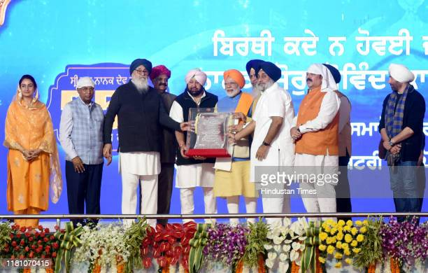 President Gobind singh Longowal Punjab Chief Minister Capt Amarinder Singh and others felicitate Prime Minister Narendra Modi on the occasion of the...