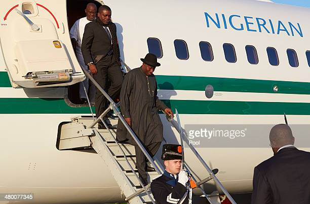 President Goodluck Ebele Jonathan of Nigeria arrives at Schiphol Amsterdam airport on March 22 2014 in Amsterdam Netherlands The Nuclear Security...