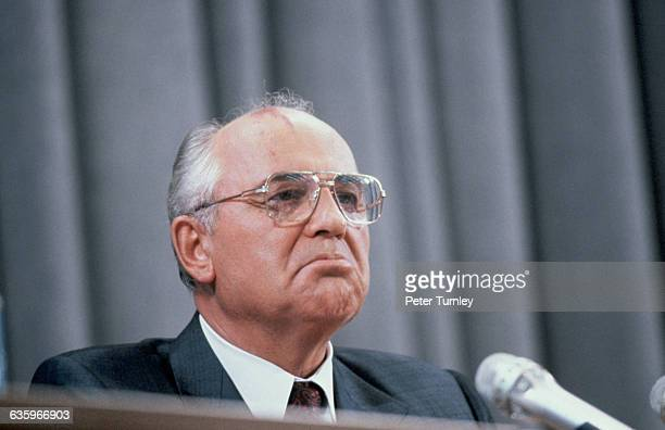 President Gorbachev attends a press conference held just after the attempted coup failed Gorbachev was under house arrest during the coup attempt