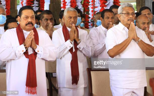 President Gotabaya Rajapaksa and his brothers prime minister Mahinda Rajapaksa and Chamal Rajapaksa who was appointed as the cabinet minister of...