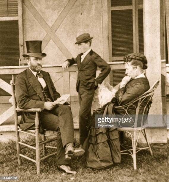 President Grant at his cottage by the sea Ulysses Grant seated on porch with his wife Julia and son Jesse