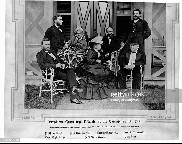 President Grant sits at his seaside home with his house guests Left to right are President Grant MG Wilkins Mrs General Morris Julia Grant Senator...
