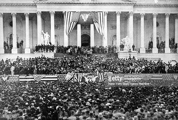 President Grover Cleveland delivering his inaugural address at the Capital