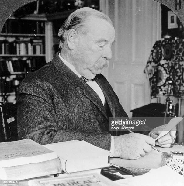 US President Grover Cleveland sitting at his desk after his term of office USA circa 1900