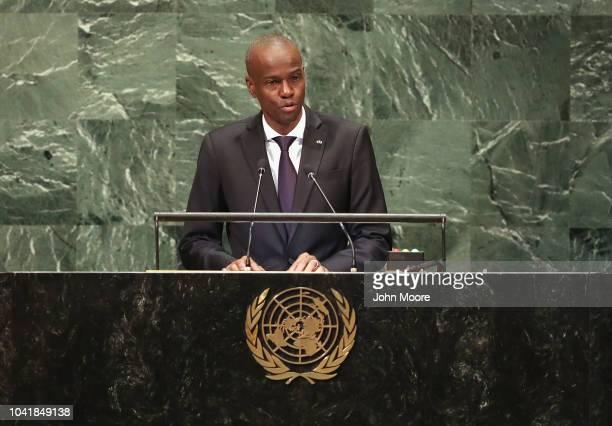 President Haiti Jovenel Moise addresses the United Nations General Assembly on September 27, 2018 in New York City. World leaders gathered for the...