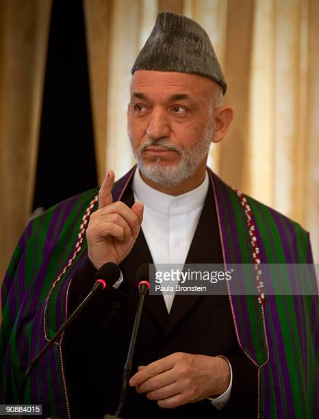 President Hamid Karzai speaks to the media for the first time since full preliminary results were announced at the Presidential palace on September...