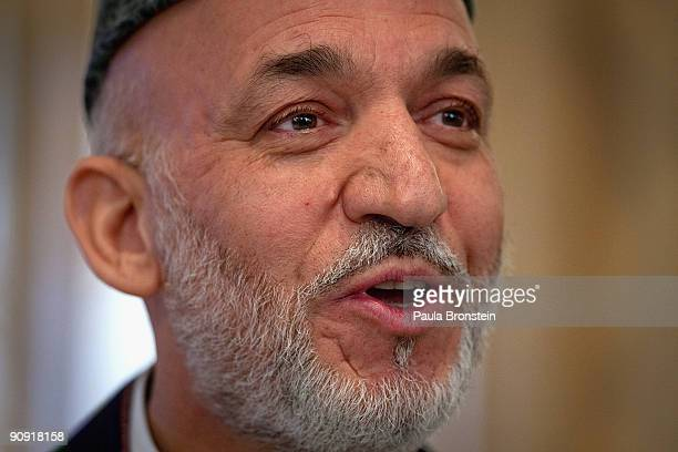 President Hamid Karzai speaks to the media for the first time since full preliminary results were announced at the Presidential palace September 17,...